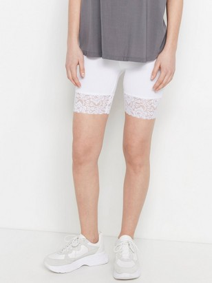 Biker Shorts with Lace Trim  White