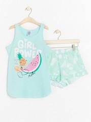 Pyjama, jossa hedelmiä ja kimallepainatus Aqua