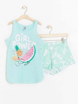 Pyjamas with fruit and glitter print Aqua