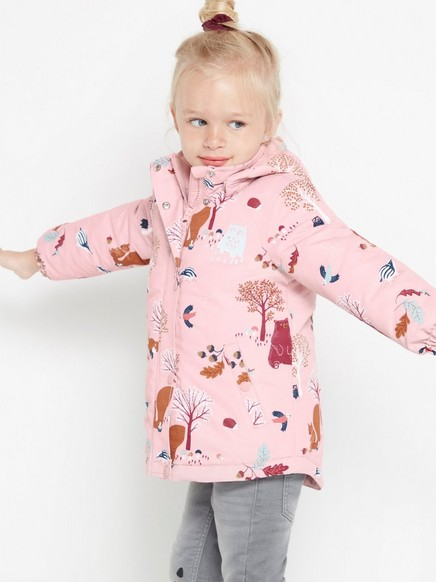 Padded pink jacket with pattern Pink