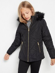 Black padded quilted jacket with fake fur trim Black