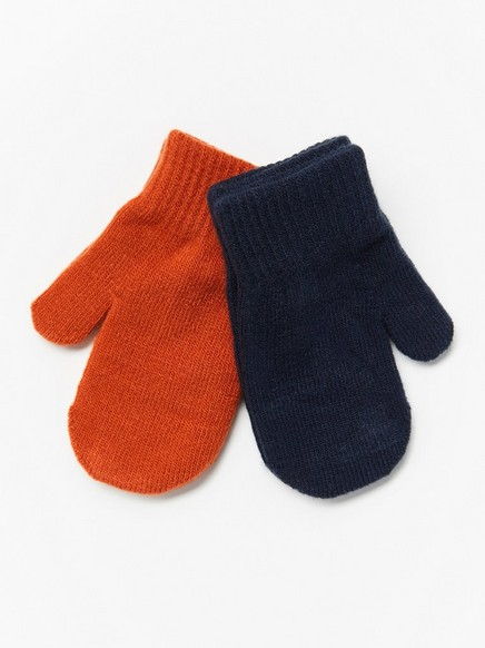 2-pack fine-knit mittens Blue