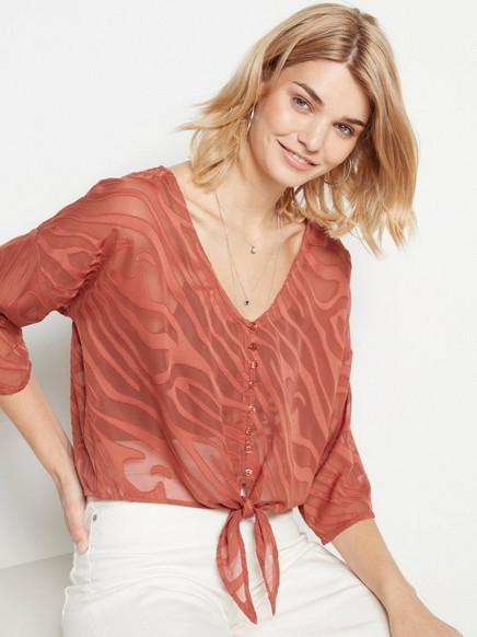 Jakardikuvioitu pusero, jossa solmittava nauha Vaaleanpunainen