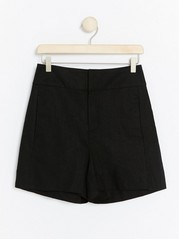 Black linen blend shorts  Black