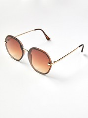 Large Sunglasses with Gold Coloured Details  Brown