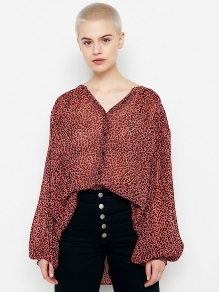 Rosa, leopardmønstret bluse Svart