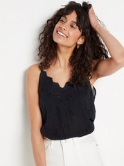 Modal Camisole with Hole-embroidery  Black