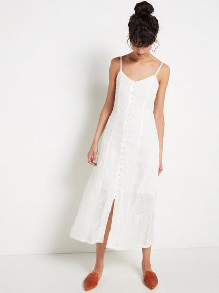 Hvit, hullbrodert kjole Hvit