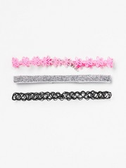 3-pack Choker Necklaces Pink