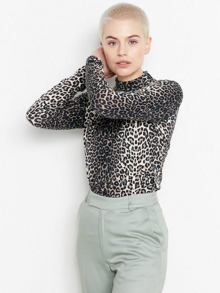 Pitkähihainen leopardikuvioitu pusero Beige