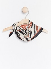 Patterned Satin Scarf  Black