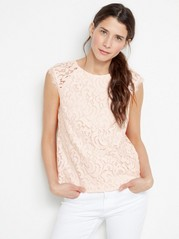 Lace Blouse with Cap Sleeves  Pink