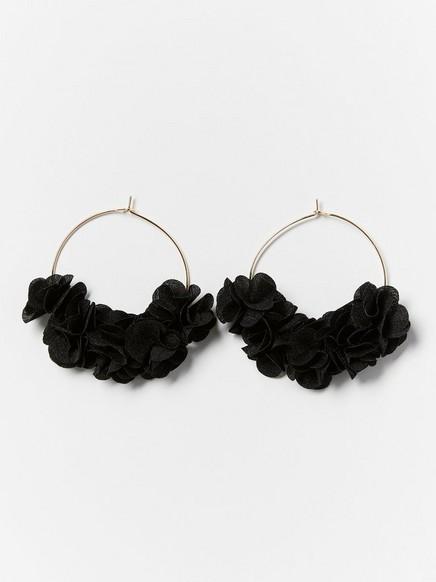 Hoop-øreringer med blomster Svart