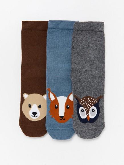 3 paria sukkia, joissa liukuestepohjat ja eläinkuviointi Harmaa