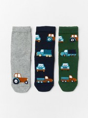 3-pack antislip socks with vehicles Grey