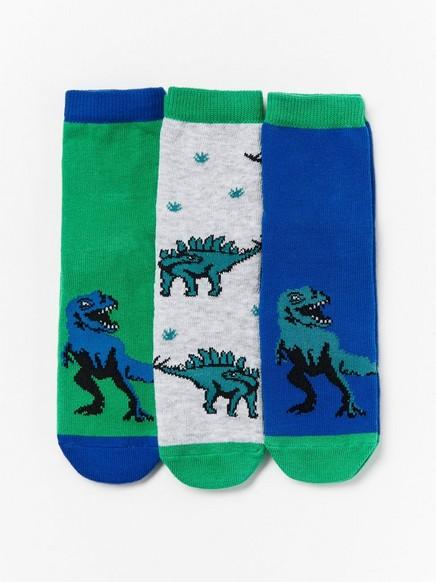 Sada 3párů ponožek sprotiskluzovou úpravou smotivem dinosaurů Šedivá