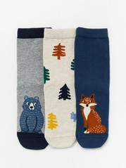 3-pack antislip socks with forest animals and trees Blue
