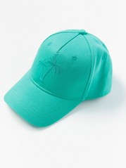 Cap with Embroidered Palm-trees Green