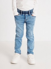 Narrow pull-on jeans in denim jersey Blue