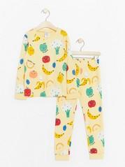 Pyjama, jossa hedelmiä Keltainen