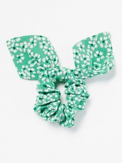 Floral Scrunchie with Bow  Green