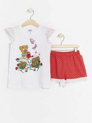 Pyjama, jossa Bamse-painatus ja sydämiä Punainen