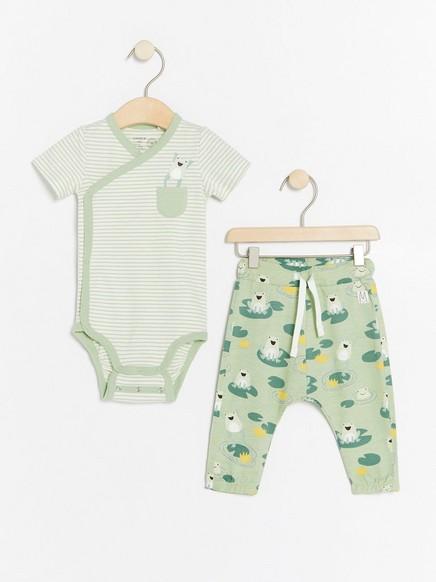 Sett med omslagsbody og bukse med frosker Hvit