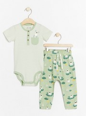 Set with striped bodysuit and trousers with frogs White