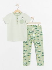 Set with striped top and trousers with frogs White