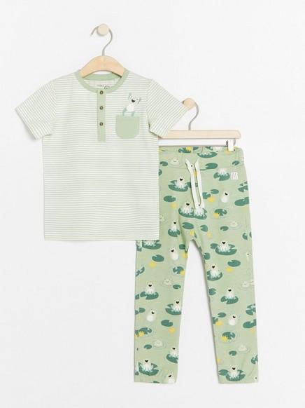 Sett med stripet topp og bukse med frosker Hvit