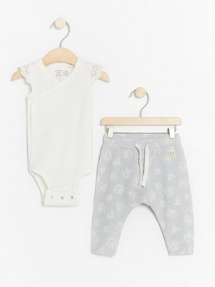 Set with wrap bodysuit and patterned trousers White