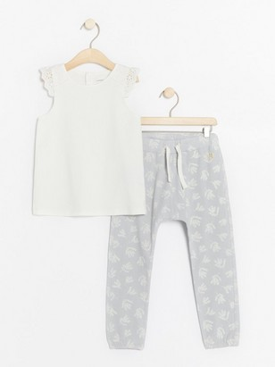 Set with top with lace and patterned trousers White