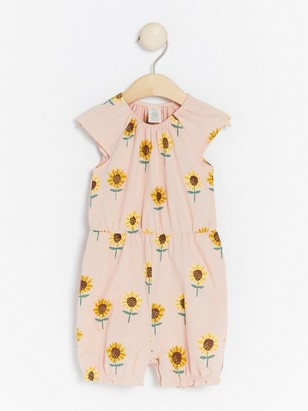 Pink romper with sunflowers Pink