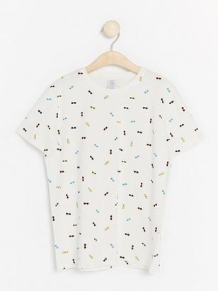T-shirt with Sunglasses White