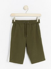 Jersey Shorts with Side Stripes Khaki