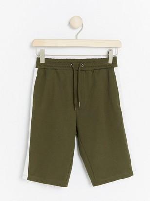 Jersey Shorts with Side Stripes Khaki
