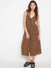 Patterned Viscose Dress with Buttons  Brown