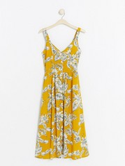 Patterned Viscose Dress with Buttons  Yellow