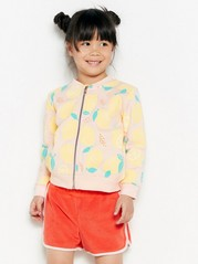 Sweatshirt jacket with lemon print Pink