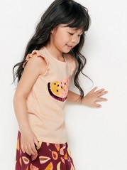 Sleeveless Top with Reversible Sequins Orange