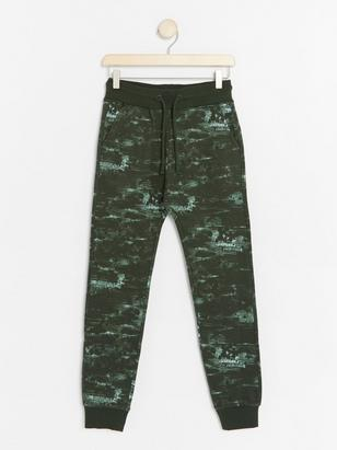 Green Trousers with Abstract Pattern Khaki