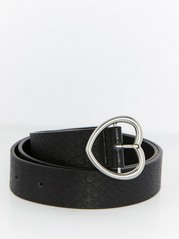 Belt with Heart Shaped Buckle  Black