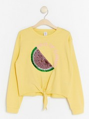 Yellow Sweater with Reversible Sequins and Knot Yellow