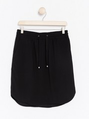 Short Black Viscose Skirt  Black