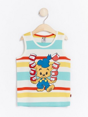 Striped Tank Top with Bamse Print White