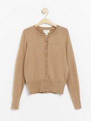 Fine-knit cardigan in viscose blend Brown