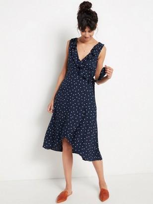 Ärmlös omlottklänning med volang  Blå