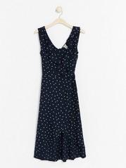 Sleeveless Wrap Dress with Flounce  Blue