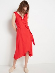 Sleeveless Wrap Dress with Flounce  Red