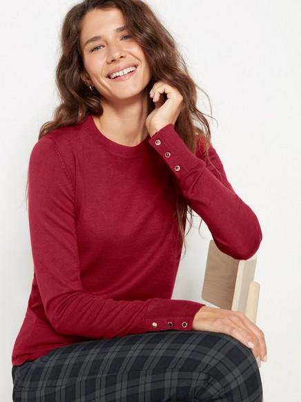 Finstickad tröja i viskosblandning Röd